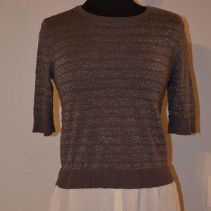 Apt. 9 Size M 2Fer Sweater Top Gray Metallic Silve